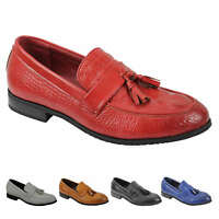 Mens Leather Lined Vintage Retro Snake Skin Tassel Loafers Smart Casual Shoes