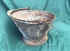 Old Vintage galvanised bucket coal bucket scuttle garden planter
