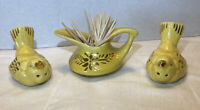 Vintage Yellow Finch Salt & Pepper Shakers With Creamer Toothpick Holder