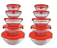 10 Pcs Glass Lunch Bowls Glass Food Storage Containers Set W Red Lids - 2 Pack