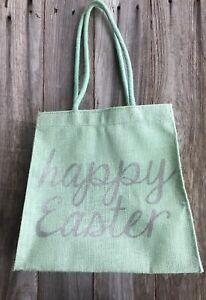 Teal Aqua Canvas Easter Bag Burlap Tote Bag