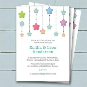 30 Personalised Christening Birthday invitations invites girl boy unisex joint