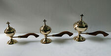 Brass Burners Catholic Incense Burner with Wood Handle Set of 3 Pieces