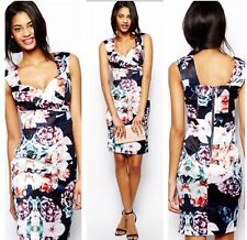 Lipsy VIP Pencil Dress Size 12 Black Floral Rose Pleat Wiggle Party Wedding Xmas