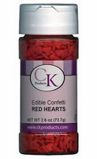 Red Hearts Edible Confetti Sprinkles 2.6 oz from CK  #11101 - NEW