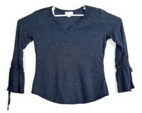 Liz Claiborne Women's Shirt Top Size Medium M Black/ Gray 3/4 Sleeve V-Neck