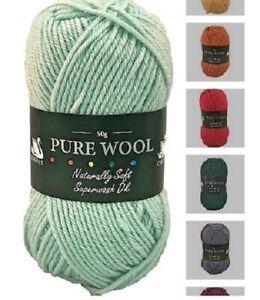 CYGNET Pure Wool DK Double Knitting 100% Wool Yarn Superwash 50g - ALL COLOURS