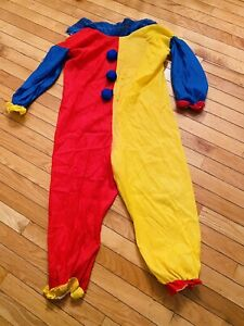 Vintage Handmade Orange & Yellow Clown Suit Costume Adult Size L With Wig