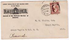 1886 WASHINGTON USA ADVERTISING COVER RAILROADER ILLUSTRATED LOCOMOTIVE >MICH
