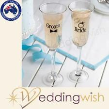 Bride and Groom Toasting Glasses, Wedding Champagne Flutes - Fast Aus Shipping