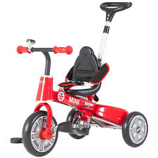 Foldable Steer Stroller Mini Kids Ride on Tricycle w/ Bell Push Handle Red&Black