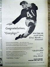 "1953 display newspaper ELROY ""CRAZY LEGS"" HIRSCH Los Angeles Rams football star"