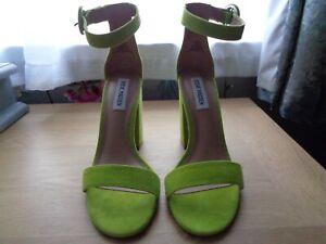Steve Madden 559 Friday Block Heel Sandal Lime Suede UK5 EU38 New in damaged Box