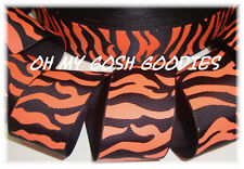 7/8 BLACK ORANGE ZEBRA TIGER CHEERLEADER GROSGRAIN RIBBON CHEER 4 HAIRBOW