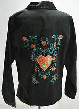 Susan Graver Jean Jacket Embroidered Floral bead Button Light Coat Black Denim M
