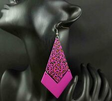 23B-241 Big Rhombus Purple Leopard Print Dangle Earrings 1 Pair XJW130320