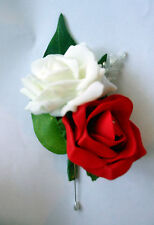 Double rose buttonhole Ivory & Red