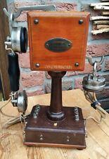 Altes Antikes Holz Tischtelefon - Grammont Type 10 System Eurieult
