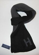 NWT TOMMY HILFIGER BLACK GRAY COLOR BLOCK 'H' SIGNATURE MONOGRAM INITIAL SCARF