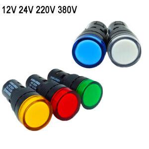 LED Indicator Lamp Signal 16mm Panel Warning Light 12/24/220/380V Red Green Blue