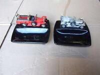 2 EARLY MODEL METAL CARS ASHTRAYS DISPLAYS