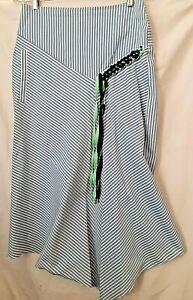 TIBI Blue Stripe Braid Trim Asymmetrical Skirt, 4