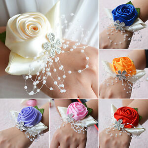 1pc Wrist Corsage Groom Boutonniere Bride Bridesmaid Hand Flower Wedding Decor