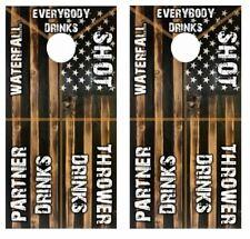 Rustic Flag Drinking Game Cornhole Board Wrap LAMINATED Decal Vinyl Sticker 3922