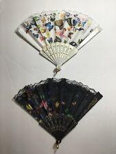 2 Pc Lace Hand Held Folding Fan With Butterfly Pattern