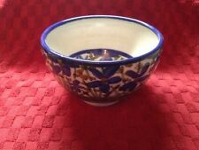 Beautiful Carris Pottery Tennessee Blue Brown Wild Flowers Bowl Decorated In Out