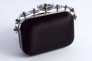JIMMY CHOO 'Cloud clutch' black satin floral crown embellished bag - defected