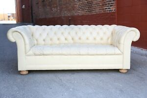 Chesterfield sofa white Leather couch vintage wood feet Tufted Furniture Office