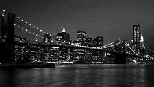 QUADRI MODERNI POSTER 100X70 ARTE ARREDO NEW YORK SKYLINE BIANCO NERO PAESAGGIO