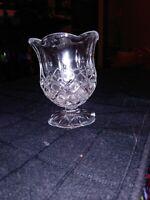 "Tulip Votive Candle Holder 4"" HOMCO Tealight Glass Diamond Stem Flower Foot Exc"