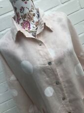 "Made In Italy Pure Linen Shirt Dress L XL XXL 52"" Chest Pink White Lagenlook"