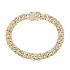 Mens Miami Cuban Link Bracelet Real 14k Gold Over Solid 925 Silver Diamonds 9mm