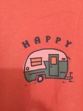 "LIFE IS GOOD T-Shirt Women's ""Happy"" 100% Cotton Sz XL Dark Orange"