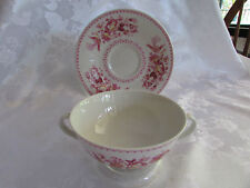 Royal Doulton Phoenix Soup Coupe with underplate made in England Red design