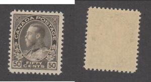 MNH Canada 50c Black Brown KGV Admiral - Dry Printing #120 (Lot #20141)