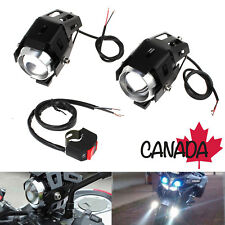 2x LED U5 125W Motorcycle Headlight Driving Fog Spot Lights w/ Switch Motorbike