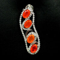 TOP FIRE OPAL PENDANT : Natürliche Orange Feuer Opal Anhänger 925 Silber N112