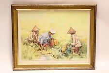 Vtg Original Watercolor Art Painting M. Zain Indonesian Field Work Signed Framed