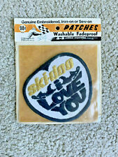 VTG SKI-DOO I LOVE YOU SNOWMOBILE PATCH NEW in pkg 1970 GLITTER gold Embroidered