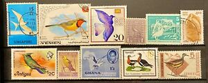 WORLDWIDE - BIRDS - LOT OF 11 USED STAMPS