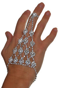 Bollywood Flower Diamante Link Chain Hand Ring Bracelet Hand Harness Silver