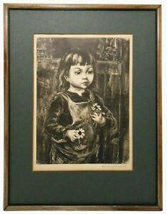 MARION GREENWOOD (AMERICAN 1909-1970) 'BLACK-EYED SUSAN' PNCL SGND LITHO, FRMED