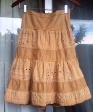 SantaCroce Firenze Leather Skirt w/Cotton inserts Boho Chic Italy Size 42(Sm-Md)