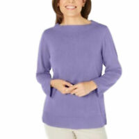 Karen Scott Bateau-Neck Long-Sleeve Sweater Purple Size: XL