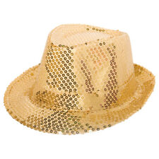 DELUXE GOLD SEQUIN TRILBY 70S DISCO XMAS