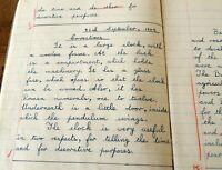 Vintage 1940s 1950s Handwritten School Student Note Book Notebook English #27